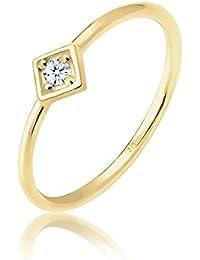 Elli Premium Mujer Anillo Anillo de compromiso Geo Diamante (0.03ct) en oro amarillo