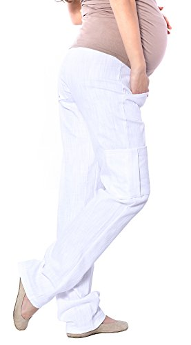 Mija - Pantalon de maternité confortable Cargo Over Bump 3017 Blanc