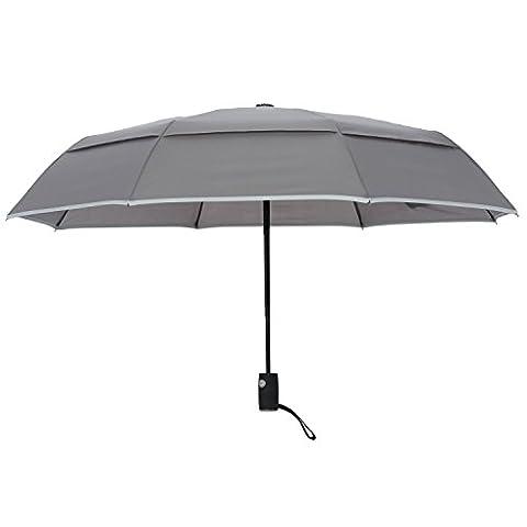 Arcadia Outdoors-Regenschirm, belüftet, doppellagig, Windfest, Reise-Regenschirm mit reflektierendem Rand, automatischer