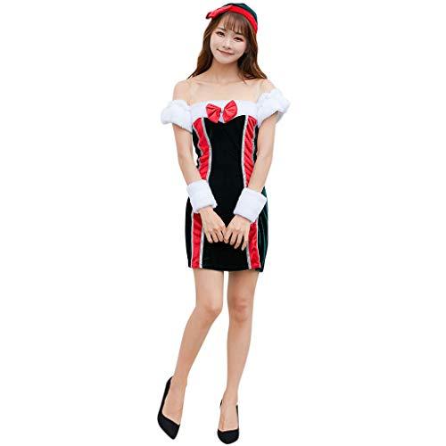 DIASTR 2019 Weihnachten Damen Kurzarm Fuzzy Cat Weihnachten Kostüme Kleid Kostüm Sexy Cosplay Rollenspiele für Weihnachtsfeier, Neujahrspartys -