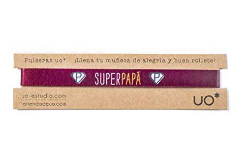 UO- Pulsera Estampado Súper Papá Granate, Color