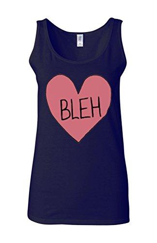 Bleh Broken Pink Heart Novelty White Femme Women Tricot de Corps Tank Top Vest Bleu Foncé