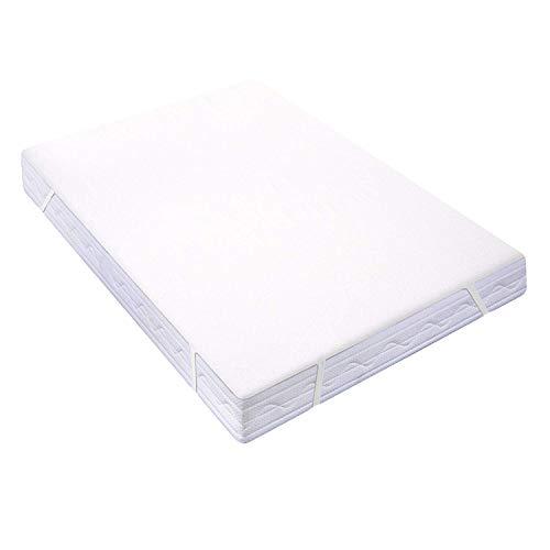 Homfy coprimaterasso impermeabile 160 x 200 cm, fibra di bambù top copri materassi (oeko-tex® | oeko-tex® standard 100), ecologico e morbido,traspirante e anallergico, bianco