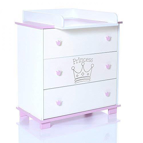 Baby Wickel-Kommode mit abnehmbaren Wickelauflage Aufsatz und 3 grossen Schubladen: weiß-rosa