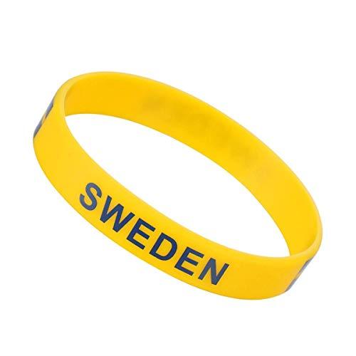 GNXIA Home Hochzeit Festival Party Dekoration 2018 Weltmeisterschaft Silikon Armband Land Silikon Armband Fußball Sport Armband für Russland 2018 FIFA World Cup 6 STÜCKE (Schweden)