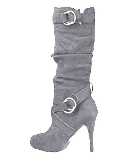 Minetom Damen Stiefeletten Worker Boots Übergrößen Damen Schnürstiefeletten Mit Blockabsatz Spitze Zipper Grau 42 EU