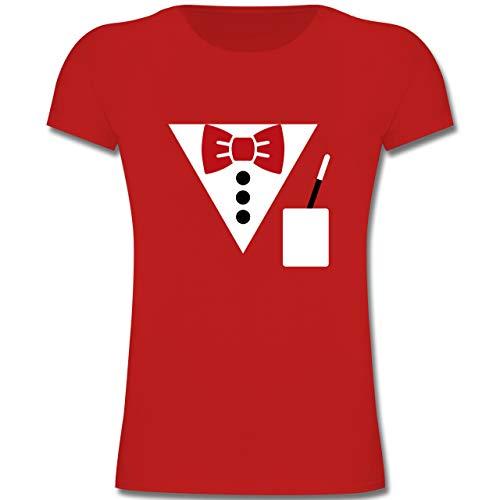 Magier Mädchen Kostüm Weiße - Karneval & Fasching Kinder - Magier Kostüm - 116 (5-6 Jahre) - Rot - F131K - Mädchen Kinder T-Shirt