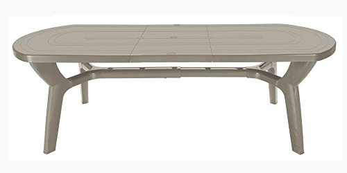 Grandsoleil Boheme Pagode Greenpol Table Ovale avec Extension, Vert, polymère, Jute, 230 x 90 x 30 cm