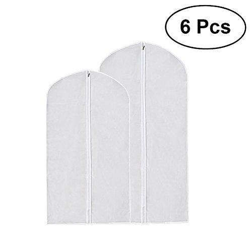 OUNONA 6 Stücke Anzug Kleidungsstück Tasche Frosted Klar Kleidung Staubschutz mit Reißverschluss (Klare Vinyl-anzug-tasche)