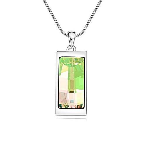 Swarovski Elements Champagne Collier pendentif en or blanc 18 carats - cadeau idéal pour les femmes et les filles - est livré dans une boîte-cadeau