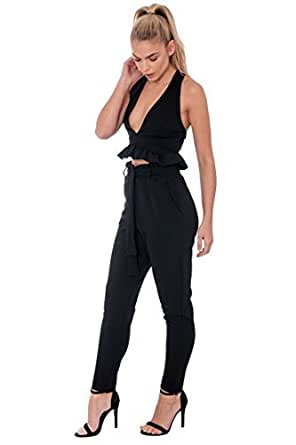 Re Tech UK Womens High Waisted Belted Paper Bag Trousers Pants Elasticated Slim Fit Pockets Cigarette Tapered Work Casual Sizes 6-14 (6, Black)