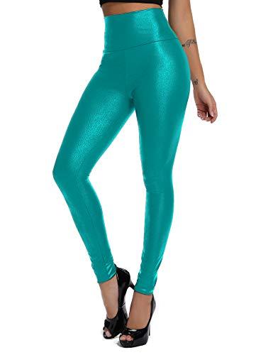 FITTOO FITTOO Damen Kunstleder High Waist Leggings Skinny PU Leder Hose Leder-Optik Strumpfhosen Treggings Himmelblau XS
