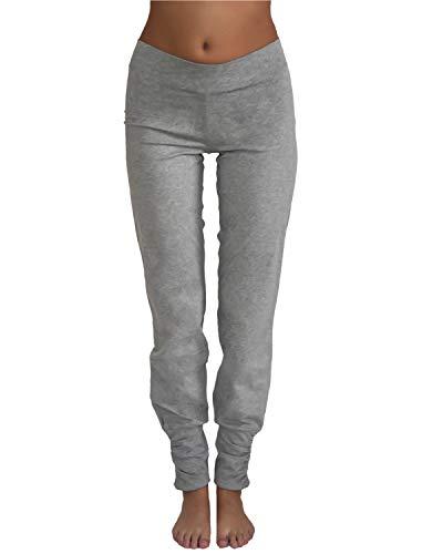 Leela Cotton Damen Freizeit, Yoga Hose Bio-Baumwolle (S, Hellgrau)