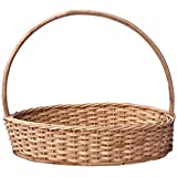 H M Service Cane Bamboo Oval Handle Basket for Festival Gifts Packing (Brown)