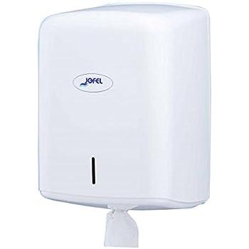 Jofel AG47000 - Dispensador de papel bobina mecha en continuo, bobinas 205 mm diámetro, color blanco