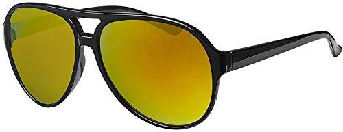 La Optica Original UV400 Unisex Retro Sonnenbrille Pilot - Farben, Einzel-/Doppelpacks (Einzelpack Glänzend Schwarz (Gläser: Gelb verspiegelt))