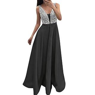 havecolor Kleid Damen Partykleider Abendkleider Brautjungfernkleid Club Elegant Sexy V-Ausschnitt Ärmellos Modische Pailletten Stern (XXL, Grau)