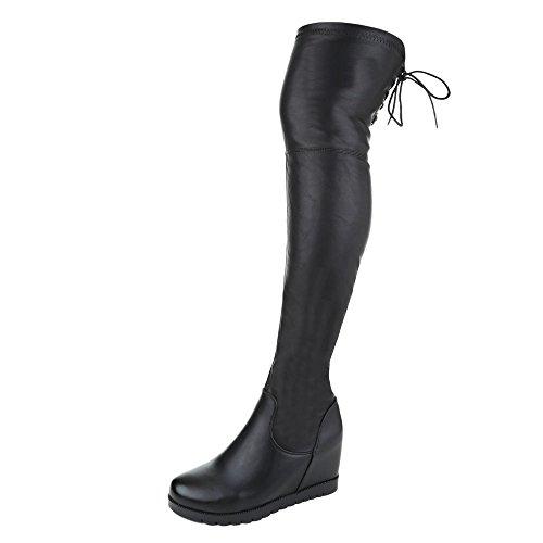Damen Schuhe, ZH718-, STIEFEL, OVERKNEE, Synthetik in hochwertiger Lederoptik , Schwarz, Gr (Für Stiefel Damen Sexy)
