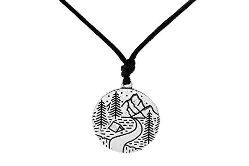Cloud-services Von Der Kauf (Literarische Poetic Stil Mountain Cloud Bäume Natur Landschaft Badge Halskette für Outdoor Liebhaber)