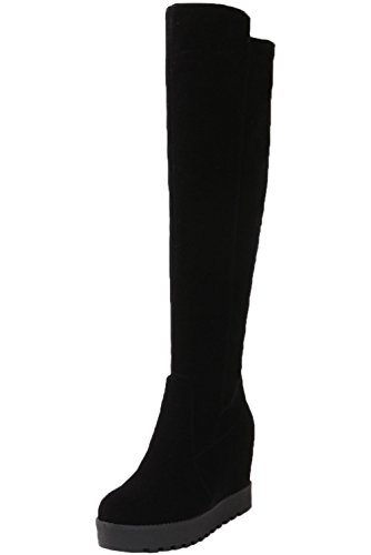 Botas Altas largas Mujer Casual Negro Plataforma Caliente Piel sintética Cuña Otoño Invierno Aumento Botas Altas de Rodilla De BIGTREE 37 EU