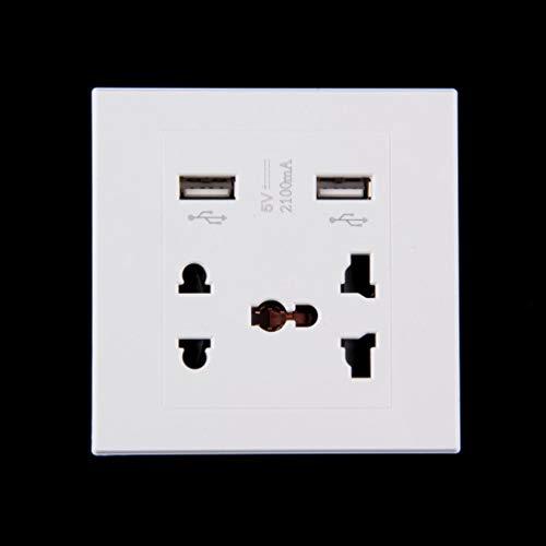 Dual USB Port 5V 2100MA Ladegerät Anschluss Dock Socket Steckdose Strom AC Power Panel Plate-White Gold Dual Wall Plate