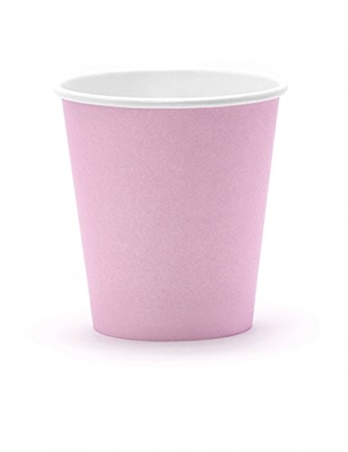 6 Gobelets en carton rose poudré 180 ml