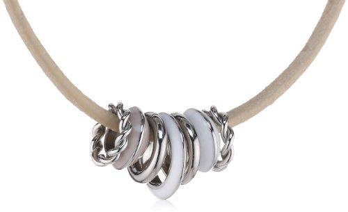 Esprit Damen-Halsband Edelstahl Leder beige ESNL11825A400