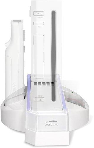 Speedlink CoolBlue Kühler und Ladestation (Akkus in Batterieform aufladbar, blau beleuchtet) (Halterung Wii)