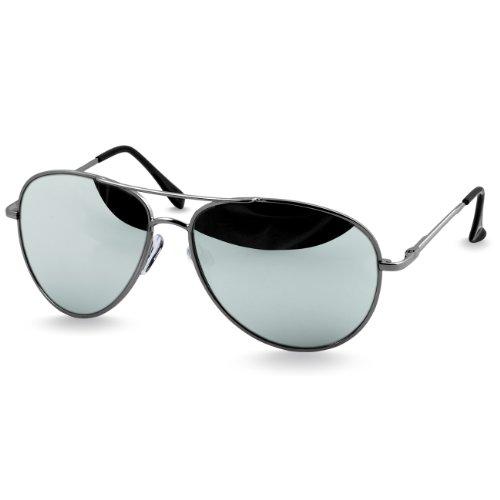 CASPAR SG013 Aviator Sonnenbrille , Farbe:silber / silber verspiegelt