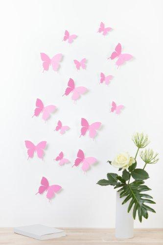 Bilderdepot24, Set di farfalle decorative effetto 3D con adesivo, 15 pz., Rosa (Rosa)