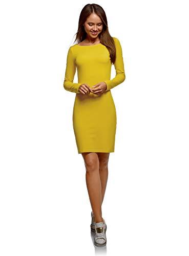oodji Ultra Damen Enges Jersey-Kleid, Gelb, DE 42 / EU 44 / XL