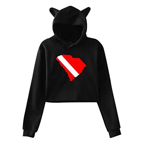 HYJDZKJY Frauen Mädchen Katze Einhorn Pullover Hoodie South Carolina State Cropped Sweatshirts (Carolina-sweatshirt Weiß South)