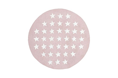 Teppich Kinderzimmer Carpet Kinderteppich Jugend Design Cameroon - Mora RUG Sterne Muster Acryl Ø 120 cm Rosa / Teppiche günstig online kaufen