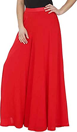 "Calvus Women's Stretchable Plain Casual Wear Palazzo Pant (Red, Free Size, Waist: 26"" to 34"")"
