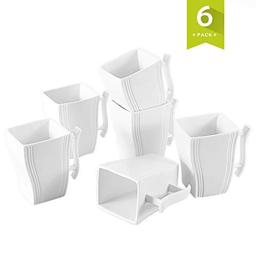 MALACASA, serie Flora,Tazas de Porcelana 6 piezas Tazas de Café Taza de té 350ml para 6 Personas