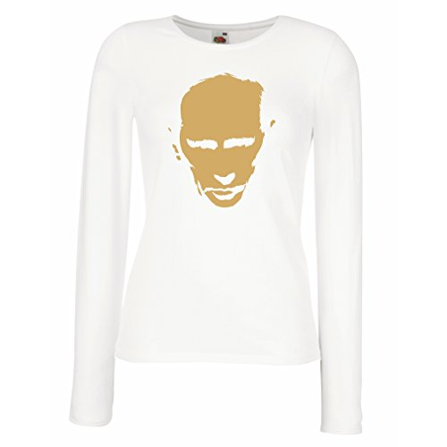 lepni.me Weibliche langen Ärmeln T-Shirt Wie Vladimir Putin Russland Moskau, politisches Design (Small Weiß Gold) (T-shirt Fitted Alaska)