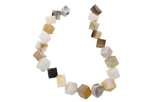 1001Kristall Würfelstrang diagonal gebohrt 12mm/40cm, Botswana-Achat - 12mm In Würfel Gelb