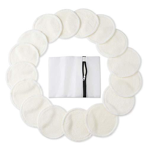 Almohadillas desmaquillantes de bambú (paquete de 16), rondas de algodón orgánico reutilizable con bolsa de lavandería, toallitas lavables para la limpieza facial y ocular