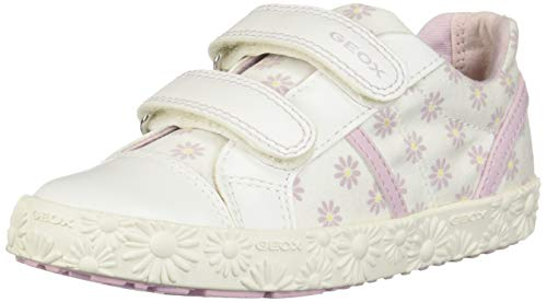 Geox Baby Mädchen B Kilwi Girl E Sneaker, Weiß (White/Pink C0406), 27 EU Baby Pink Patent Schuhe