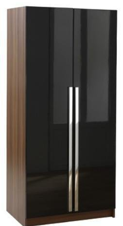 Las Vegas High Gloss 2 Door Wardrobe-Black & Walnut