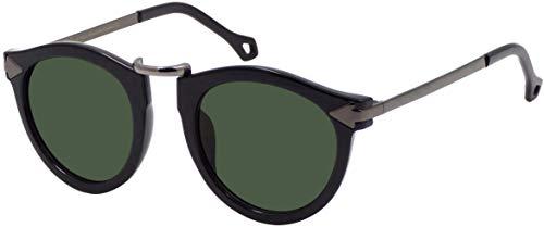 La Optica B.L.M. UV400 CAT 3 CE Damen Sonnenbrille Rund ohne Nasensteg - Glänzend Schwarz (Gläser: Grün Klassisch)_LO15 Bl B-Green C
