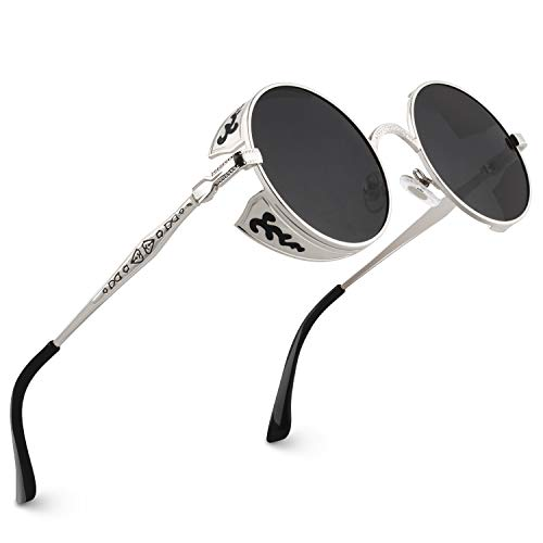 CGID Retro Sonnenbrille im Steampunk Stil runde Metallrahmen Polarisiert Brille Herren Damen Silber Rahmen Graue Gläser, CAT3, CE, E71