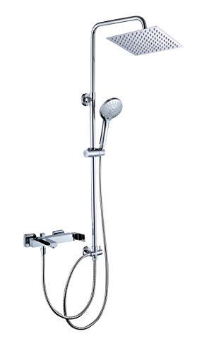 JOHO 304 Edelstahl Duschset Duschsystem Regenduschset mit Kopfbrause (Kopfbrause 20x20cm mit eckiger Armatur)
