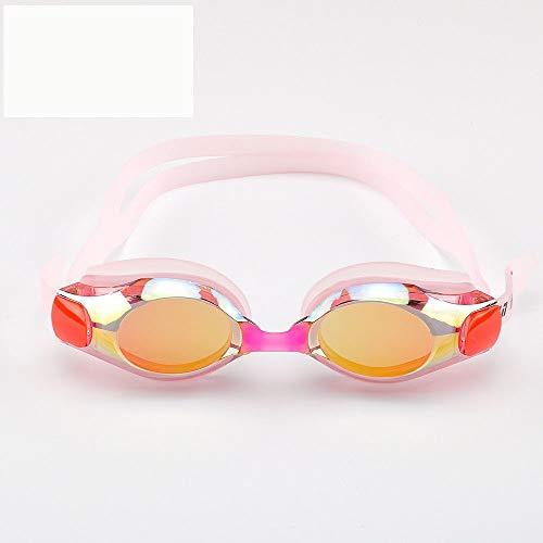 Erwachsene Männer und Frauen Bunte Galvanik Schwimmbrille,Anti-Fog wasserdicht Anti-UV-High-Definition-Silikon-Brille 3 Stück,C