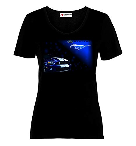 Ford Mustang Logo Auto Sport Cars Damen Ladies Printed T-Shirt (M, Black) -
