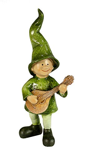 Manufaktur-Lichtbogen Dekofigur Wichtel aus Keramik grün mit Gitarre
