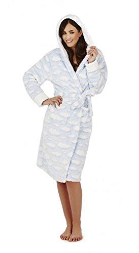 Damen Morgenmantel aus Soft-Fleece mit Kapuze, Wolkenmuster Hellblau