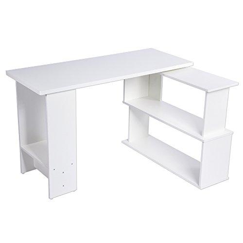 EBTOOLS Schreibtisch, Informatisch, drehbar, in L-Form oder I, Tisch für Arbeit, Computer, Tisch mit Einlegeböden aus Holz, für Schlafzimmer, Büro, Arbeitszimmer, Arbeitszimmer