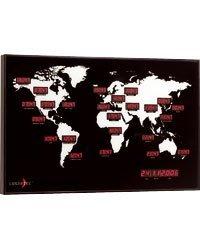 Lunartec Grande horloge murale LED rouge mondiale–24heures dans le monde–adaptée pour magasins, bureaux, locaux