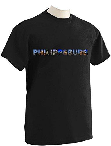 T-Shirt mit Städtenamen Philippsburg Schwarz